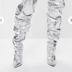 Thigh high silver slouch boots
